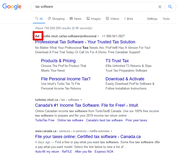 Google search results page with ad identified in red square