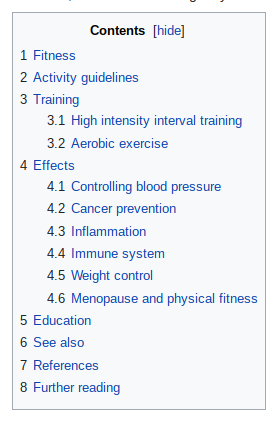 Wikipedia Fitness page table of contents