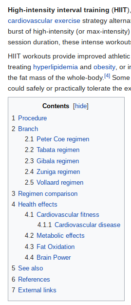 Wikipedia High Intensity Interval Training ToC